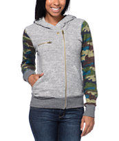 Element Women's Archer Grey & Camo Zip Up Hoodie