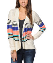 Element Women's Hyde Stripe Natural & Coral Wrap Sweater