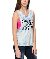 Element x Jac Vanek Kiss Me Blue Tie Dye Muscle Tee Shirt