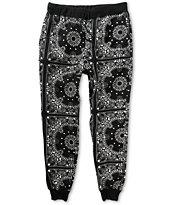 Elwood Bandana Black Fleece Skinny Jogger Pants