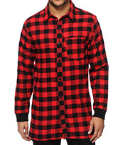 Elwood Extra Long Side Zip Flannel Shirt