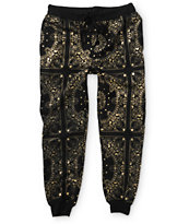 Elwood Gold Metallic Bandana Jogger Pants
