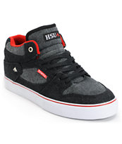 Emerica Hsu 2-Tone Black & Red Denim Skate Shoe