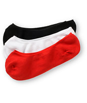 Empyre 3-Pack Multi Red, Black, & White No Show Socks