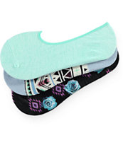 Empyre 3 Pack Selina Floral Tribal No Show Socks