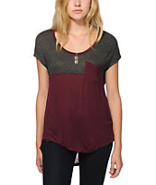 Empyre Abbott Burgundy & Charcoal Colorblock Dolman Top