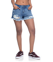 Empyre Adrian High Rise Medium Wash Destructed Shorts