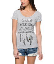 Empyre Adventure Heahter Grey Scoop Neck T-Shirt