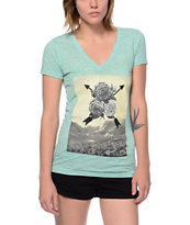 Empyre Air Rose Mint V-Neck Tee Shirt