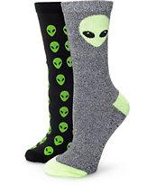 Empyre Alien 2 Pack Black Crew Socks