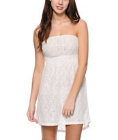 Empyre Amanda Cream Crochet Strapless Dress