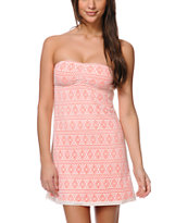 Empyre Amber Neon Pink & Natural Crochet Strapless Dress