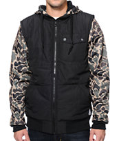 Empyre Arrival Black & Camo Zip Up Tech Fleece Hooded Jacket