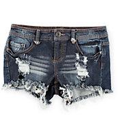 Empyre Asha Dark Wash Destroyed Denim Shorts