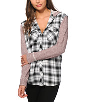 Empyre Ashford Black & Blackberry Hooded Flannel