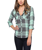 Empyre Astor Mint Plaid Hooded Shirt