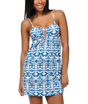 Empyre Aubree Lyons Blue Tribal Print Dress