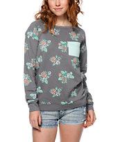 Empyre Beau Floral Print Charcoal Crew Neck Sweatshirt