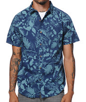 Empyre Bird Watch Navy Short Sleeve Button Up Shirt