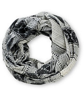 Empyre Black & Cream Feather Print Infinity Scarf