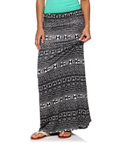 Empyre Black & Cream Tribal Print Maxi Skirt