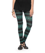 Empyre Black & Mint Tribal Leggings
