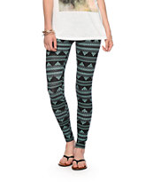 Empyre Black & Mint Tribal Print Jersey Leggings