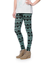 Empyre Black & Mint Tribal Print Leggings