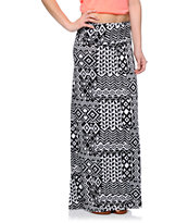 Empyre Black & White Patch Tribal Print Maxi Skirt