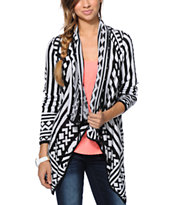 Empyre Black & White Tribal Print Wrap Sweater