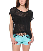 Empyre Black Tassel Dolman Top