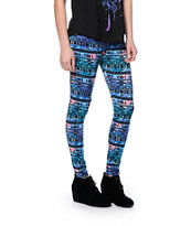 Empyre Blue Galaxy Tribal Print Leggings
