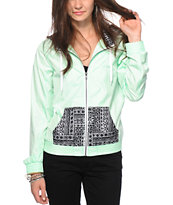 Empyre Bowery Mint & Tribal Print Windbreaker Jacket