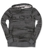 Empyre Boys Let It Slide Charcoal Long Sleeve Hooded Henley Shirt