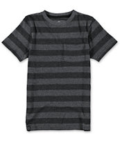 Empyre Boys Rain Check Black Stripe Pocket Tee Shirt