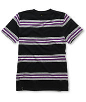 Empyre Boys Skeet Black & Purple Stripe Crew Neck Tee Shirt