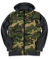 Empyre Boys Special Ops Camo Print Green & Charcoal Vest Hoodie