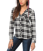 Empyre Bristol Black & Burgundy Hooded Flannel