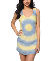 Empyre Brittany Grey & Yellow Tie Dye Crochet Tank Dress