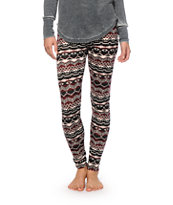Empyre Burgundy & Black Tribal Ponte Leggings