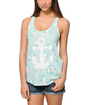 Empyre Casey Allover Floral Mint Tank Top
