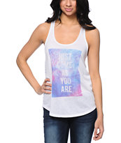 Empyre Casey Tribal Print Back White Tank Top