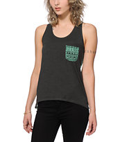 Empyre Celia Black & Mint Tribal Tank Top
