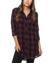Empyre Charlie Blackberry Plaid Shirt Dress