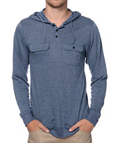 Empyre Chaste Blue Knit Henley Hooded Shirt