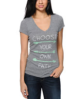 Empyre Choose Your Own Path Grey V-Neck Tee Shirt