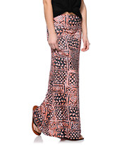 Empyre Coral & Black Tribal Print Maxi Skirt
