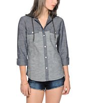 Empyre Corsica Grey Chambray Hooded Shirt