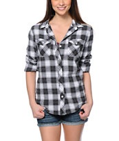 Empyre Cortland Black & Grey Boyfriend Fit Flannel Shirt