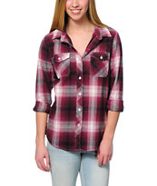 Empyre Cortland Dark Red & Natural Boyfriend Fit Flannel